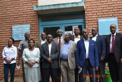 The University of Nairobi Alumni of 1980 BVM present the 2 LCD to the Dean  faculty of Vet medicine for UON @50 .